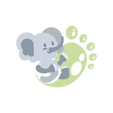 cute elephant baby and footprint decoration vector illustration design Illustration