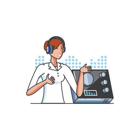 cute young woman with earphones and audio console vector illustration design 矢量图像