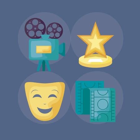 camera video with set cinema icons vector illustration design