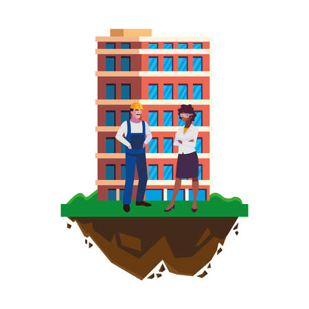 male builder constructor with afro woman engineer and building vector illustration