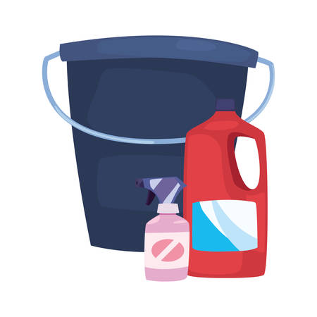 bucket detergent spray bleach cleaning products and supplies vector illustration