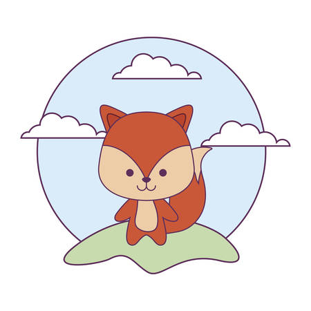 cute fox animal in landscape natural isolated icon vector illustration design  イラスト・ベクター素材