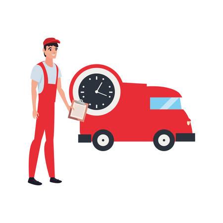 man clock delivery truck logistic vector illustration  イラスト・ベクター素材