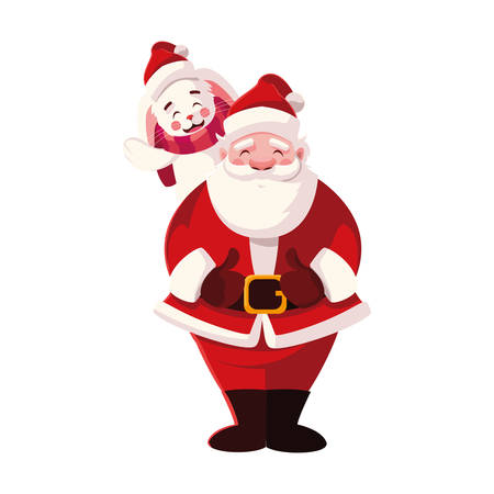rabbit and santa claus with hat of christmas in white background vector illustration design Vetores