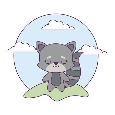 cute cat animal in landscape vector illustration design Vectores
