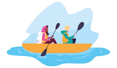 man and woman rowing a boat vector illustration