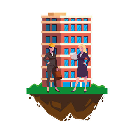 female engineers builders workers with building vector illustration design