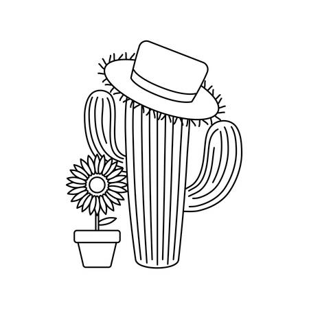 cactus with hat wicker and sunflower in pot vector illustration design