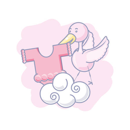 stork flying with cute clothes for baby vector illustration design