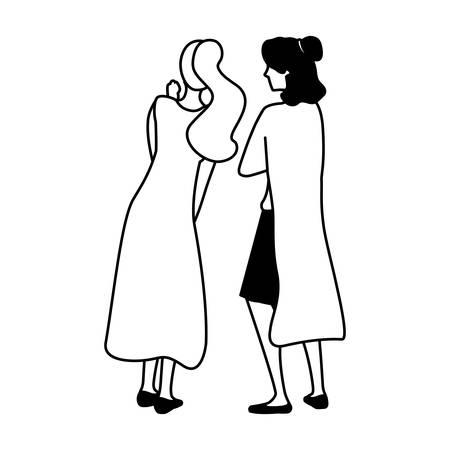 women of back position on white background vector illustration design