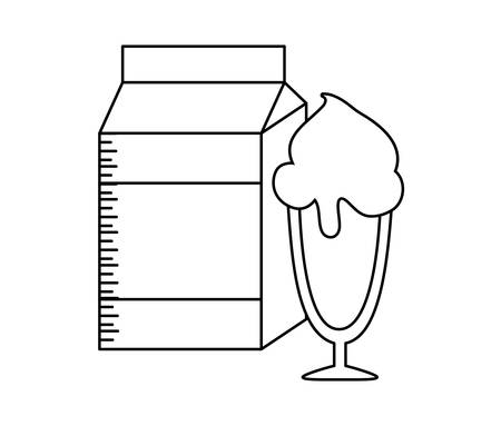 milk in box with ice cream in cup vector illustration design 向量圖像