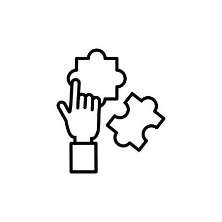 hand human with puzzle game vector illustration design