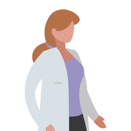 female medicine worker with uniform character vector illustration design