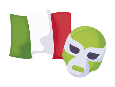 fighter mask with mexico flag isolated icon vector illustration design