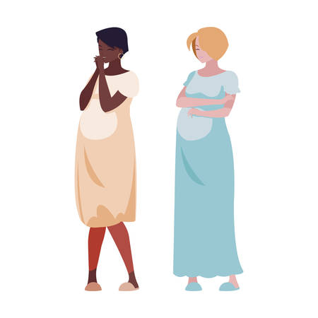 interracial couple of pregnancy women characters vector illustration design