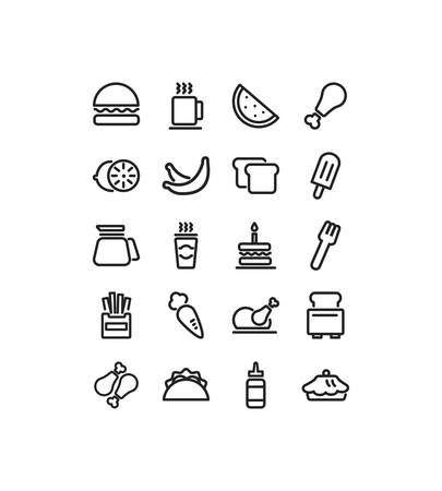 icon set pack design, food drinks eat restaurant menu dinner lunch cooking and meal theme Vector illustration