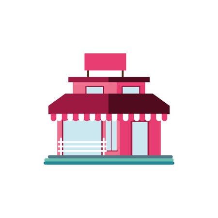 shop front with striped tent in white background vector illustration design