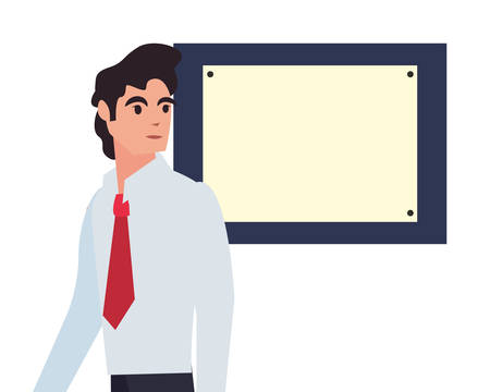 businessman profession board labour day vector illustration design