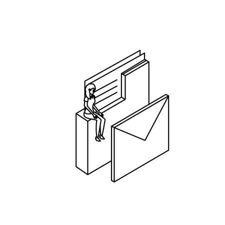 businesswoman worker with folder and envelope vector illustration design