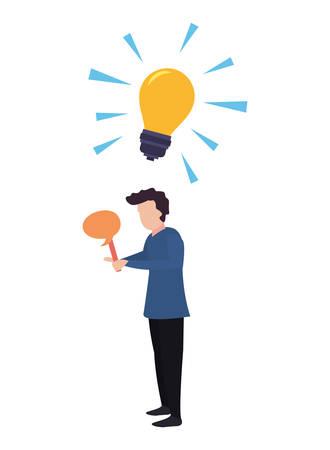 man trivia idea bulb speech bubble vector illustration
