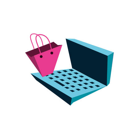 shopping bag with laptop computer vector illustration design Illustration