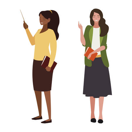 interracial female teachers with textbooks characters vector illustration design 矢量图片