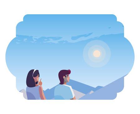 couple contemplating horizon in snowscape scene vector illustration design