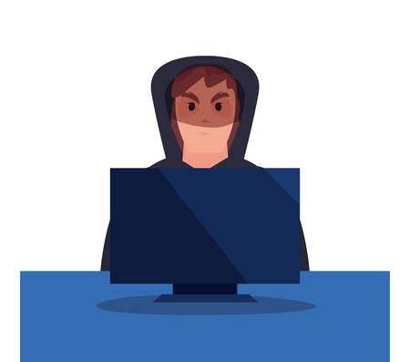 hacker man computer cybersecurity data protection vector illustration Çizim