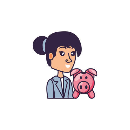 business woman with piggy bank vector illustration design Standard-Bild - 134190697