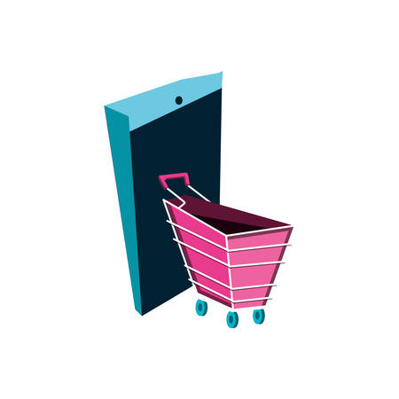 shopping cart with smartphone device vector illustration design