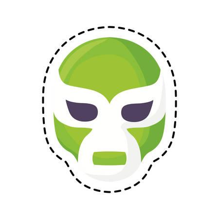 patch of mexican wrestler mask vector illustration design