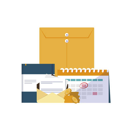 office supplies and manila envelope vector illustration design