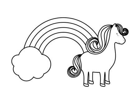 cute unicorn animal with rainbow vector illustration design Vettoriali