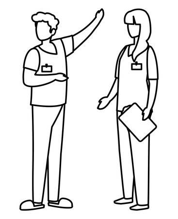 couple medicine workers with uniform characters vector illustration design Illusztráció