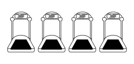 electric treadmills tapes icons vector illustration design