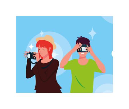 Woman and man with camera design, Device gadget technology photography equipment digital and photo theme Vector illustration Illusztráció