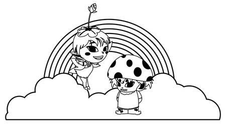 beautiful magic fairy and fungu elf with rainbow scene vector illustration design Foto de archivo - 134685636