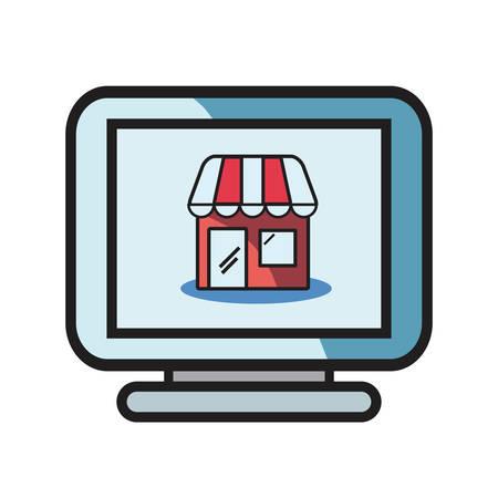 online shopping market computer on white background vector illustration