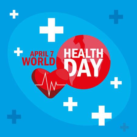 world health day card with heart vector illustration design Illusztráció