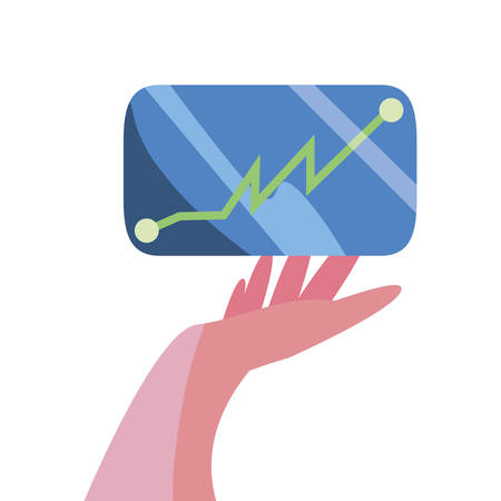hand with cellphone diagram report vector illustration