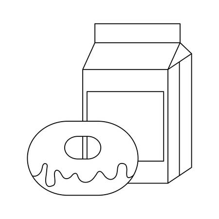 delicious donut with box milk vector illustration design Banque d'images - 134690285