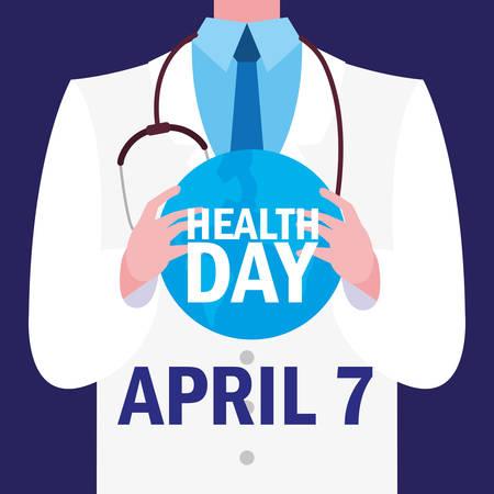 world health day card with doctor vector illustration design Illusztráció