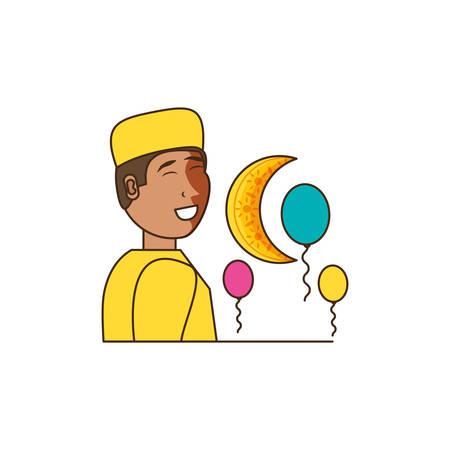 islamic little boy with moon vector illustration design 일러스트