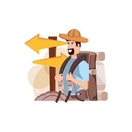 traveler man with travel bag and wooden arrow signal vector illustration design Stock Illustratie