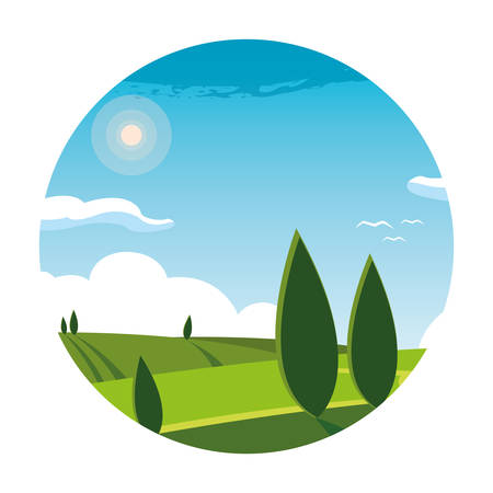 landscape nature scene in frame circular vector illustration design