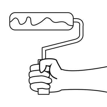 hand holding roller paint tool design image Illusztráció
