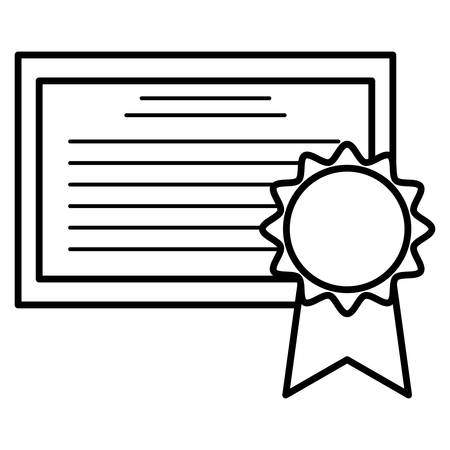 graduation certificate with medal vector illustration design Illusztráció
