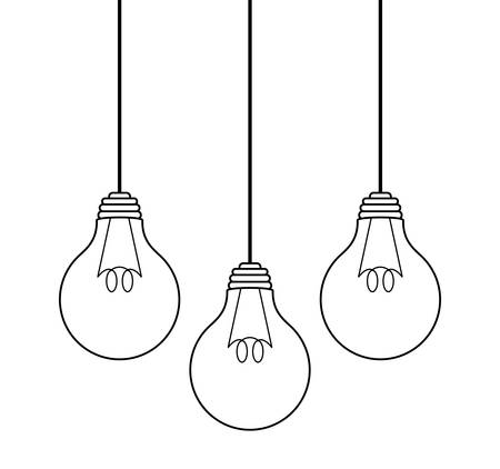 set of light bulbs hanging isolated icon vector illustration design