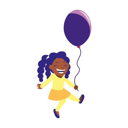 happy girl holding balloon white background vector illustration Illusztráció
