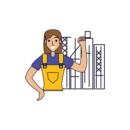 worker construction woman with cityscape vector illustration design
